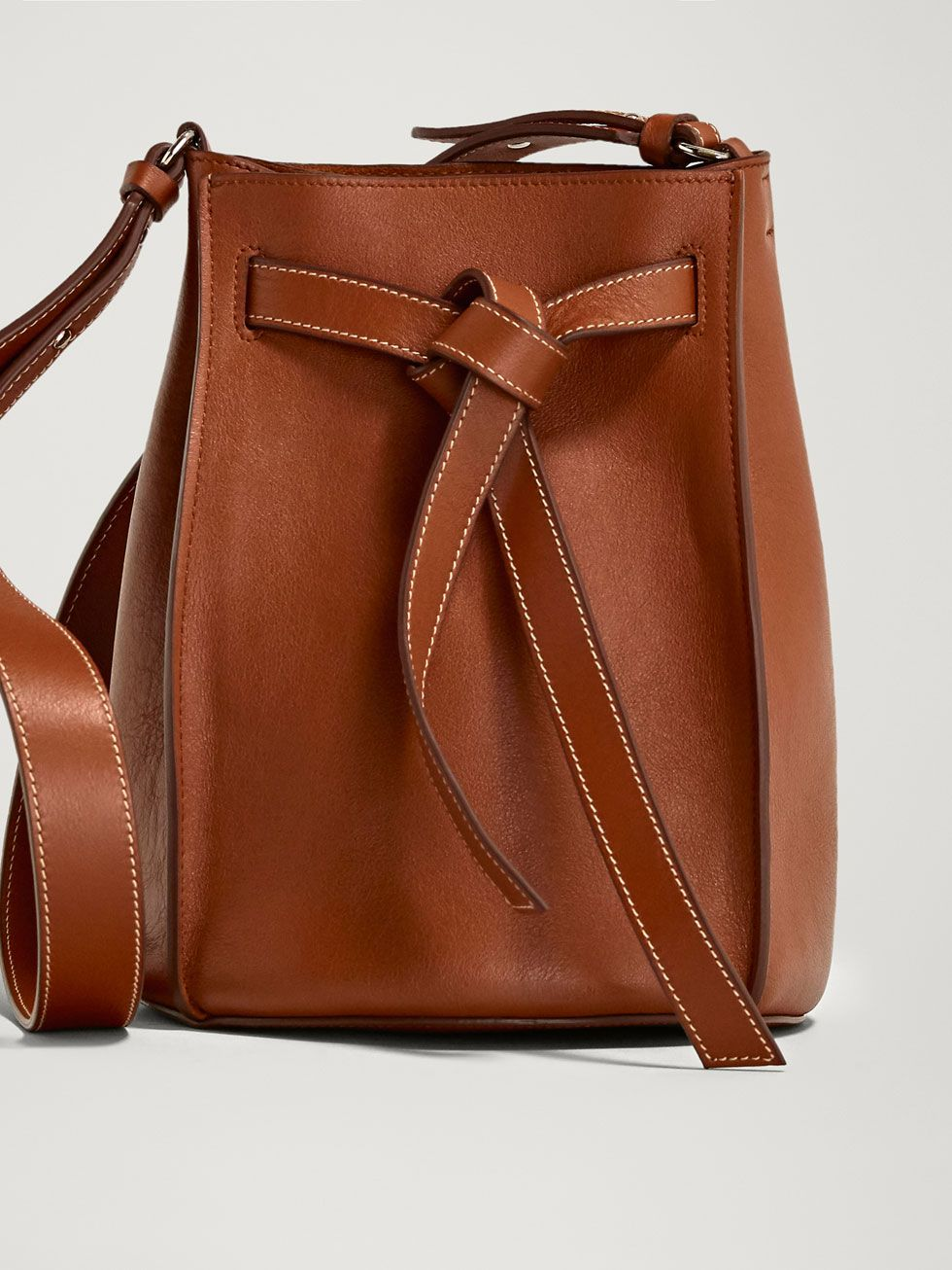 e1c2413c NAPPA LEATHER BUCKET BAG WITH TIE STRAP | fashion to get dressed up ...