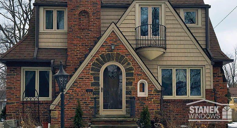 A custom-shaped storm door fits the unique design of this Cleveland home. #door #homeimprovement