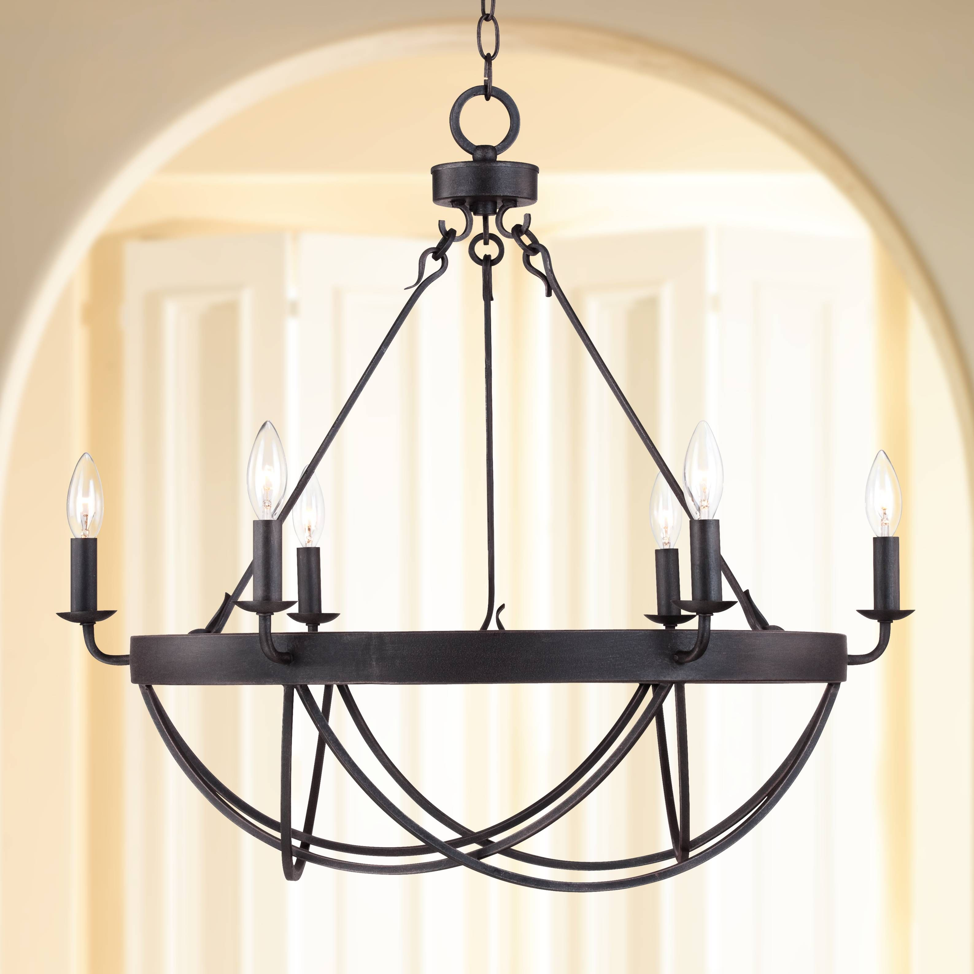 "Lyster Square 28"" Wide Oil Rubbed Bronze Chandelier"