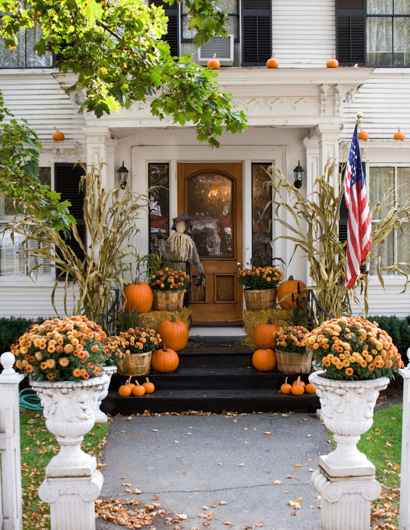11 Elegant Ways To Decorate With Pumpkins This Fall Fall Decorations Porch Fall Outdoor Decor Front Porch Decorating
