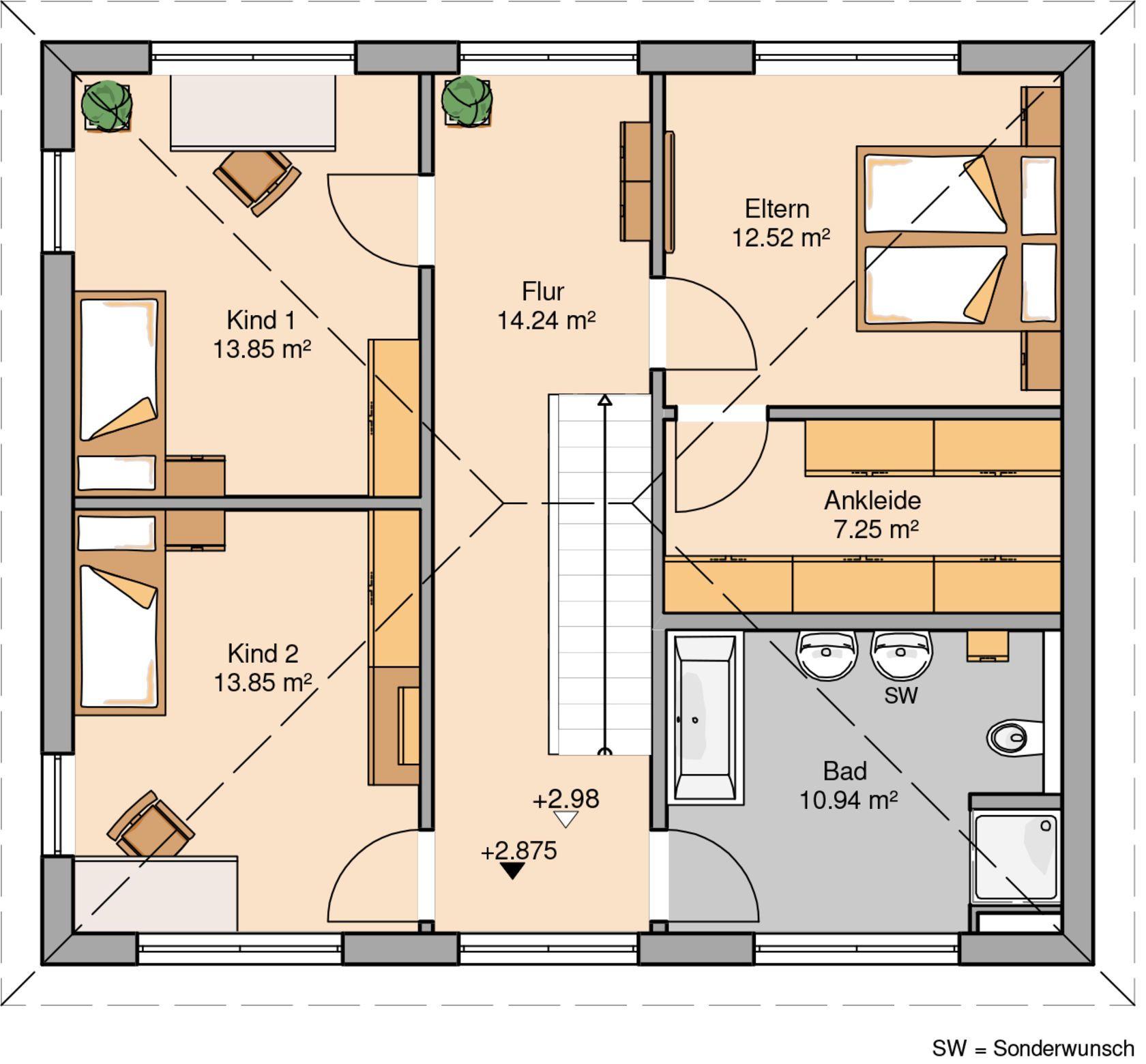 Grundriss einfamilienhaus modern obergeschoss  Kern-Haus Stadtvilla Signus Grundriss Obergeschoss | Architektur ...