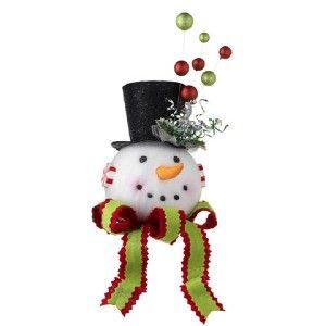 Snowman Head w Black Top Hat Christmas Tree Topper Decoration 3216196 New RAZ Hi | eBay