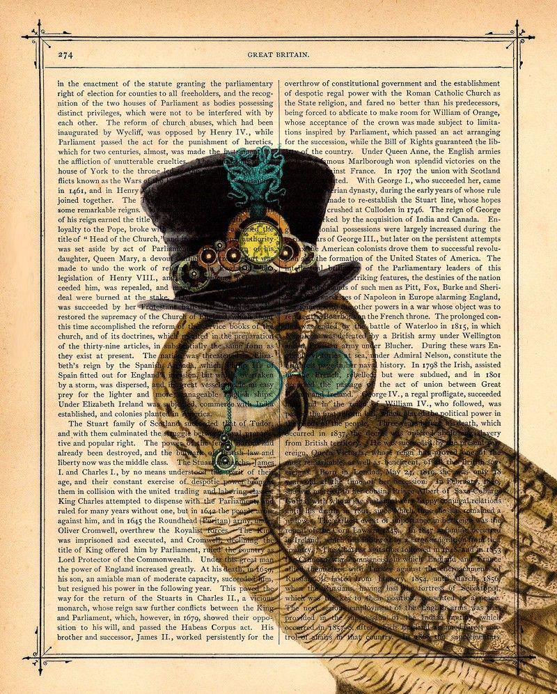 'steampunk Owl Octopus Top Hat' Black Baroque