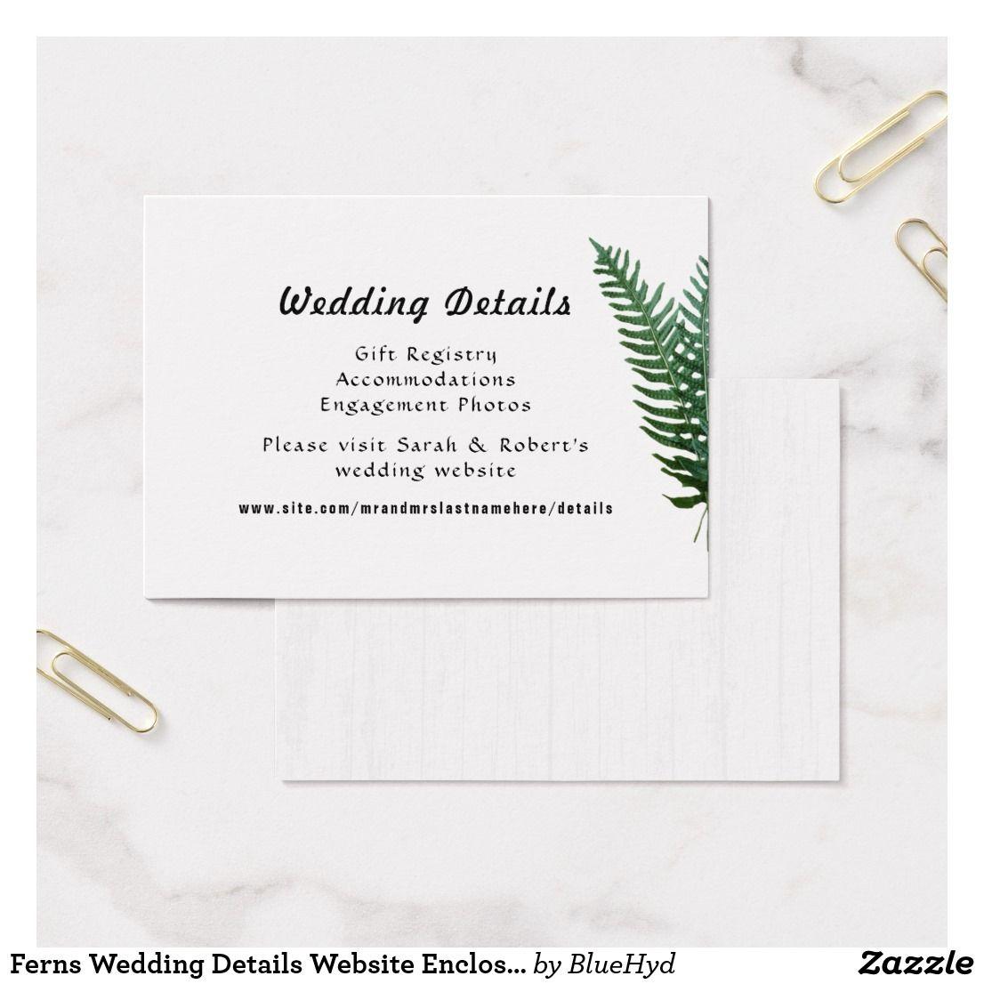 Ferns Wedding Details Website Enclosure Cards Zazzle Com Wedding Details Card Fern Wedding Wedding Details
