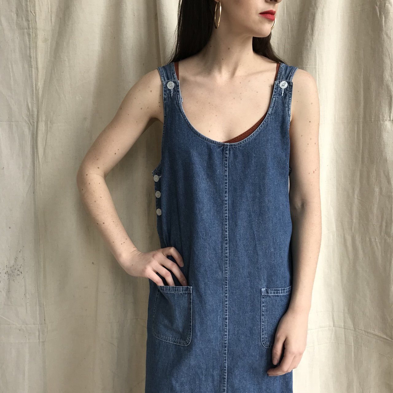 cd7dfa024dd Depop - The creative community s mobile marketplace. 90s denim mom  sundress. Overalls style.