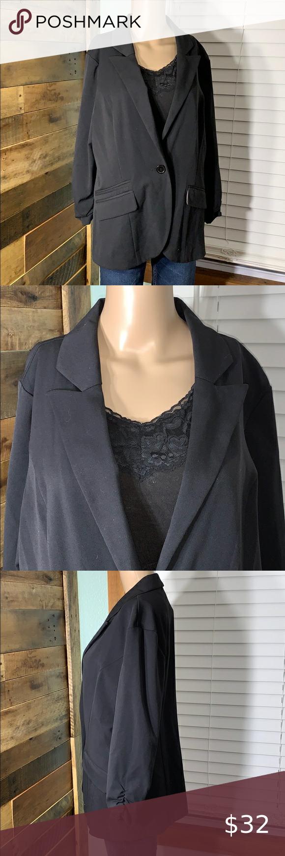 Maurices Black Blazer Suit Jacket Euc Xl In 2021 Black Dress Jacket Black Jacket Blazer Bright Blazer [ 1740 x 580 Pixel ]