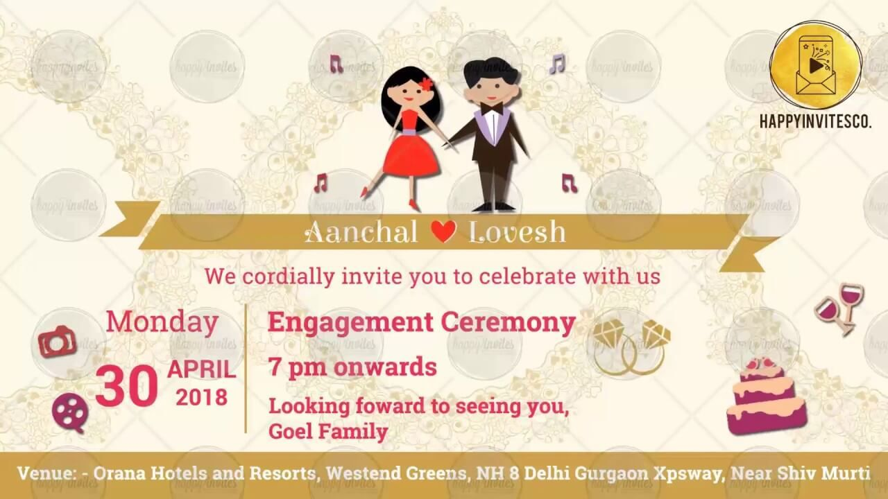 Animated Wedding Invitation - Happy Invites Invitation Video Maker