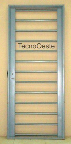 Puerta reja hierro pesada tubos horizontales 80x200 c marco ideas para and mixers - Puertas de hierro para patios ...