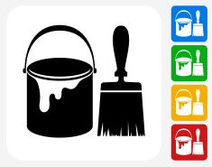 Paint Bucket And Brush Icon Flat Graphic Design Vector Art Illustration Vector Art Illustration Cool Paintings Free Vector Graphics