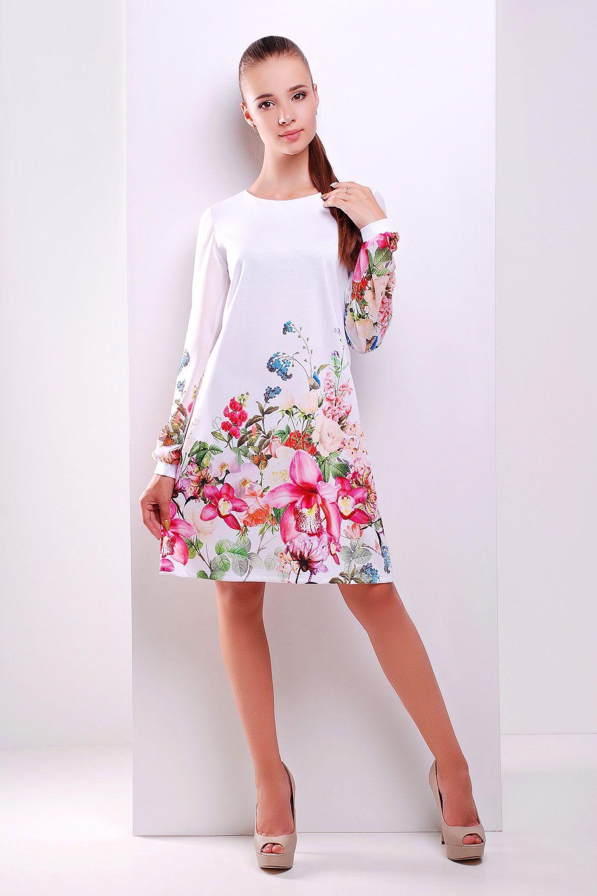 302c494cdb96317 Белое платье на весну-лето с цветочным принтом и шифоновыми рукавами. Белый  букет платье Тана-1Ф (шифон) д/р. Цвет: принт