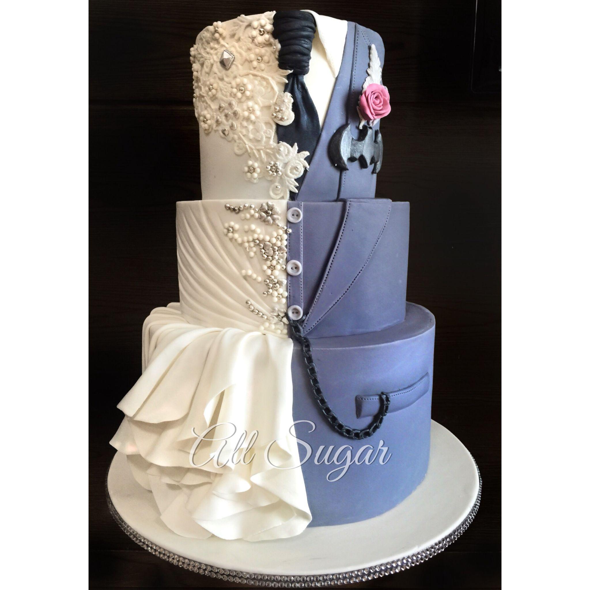 Custom wedding cake Wedding dress inspired wedding cake Dual design wedding cake Superhero