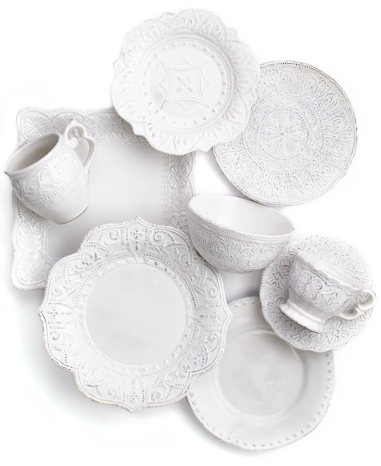 Maison Versailles Mix and Match Collection - Dinnerware - Dining u0026 Entertaining - Macyu0027s  sc 1 st  Pinterest : white french dinnerware - Pezcame.Com