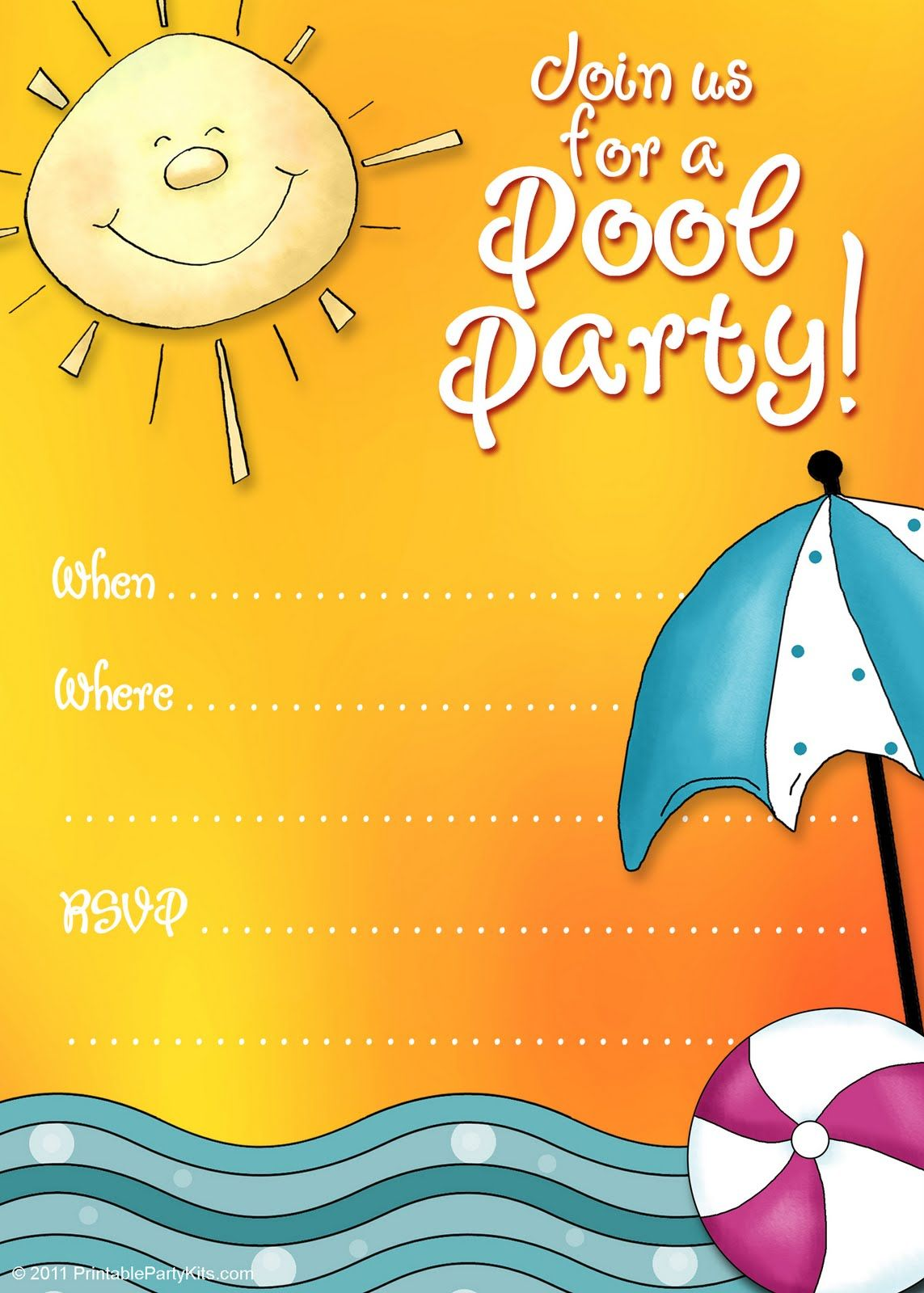 free printable party invitations: free printable pool party, Birthday invitations