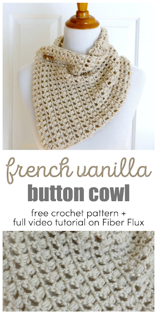 French Vanilla Button Cowl, Free Crochet Pattern + Video