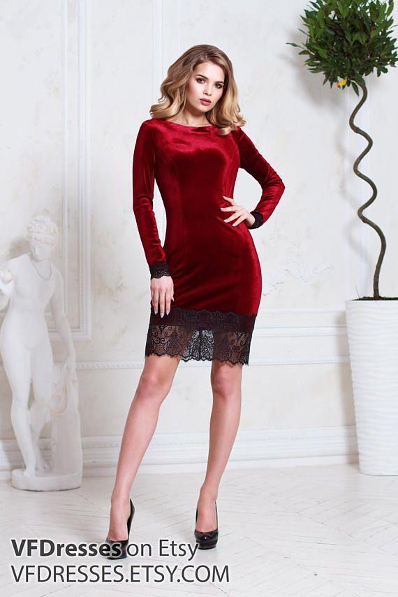 1b6b4e17fc Burgundy velvet dress
