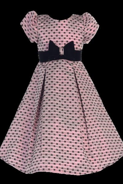 06cf1e72f Pink Jacquard Girls Holiday Dress w Black Velvet Trim (C990)