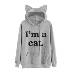 Womens Long Sleeve Crop Top Hoodies Also His Fan Cat Ear Lumbar Hoodie Pullover Sweater