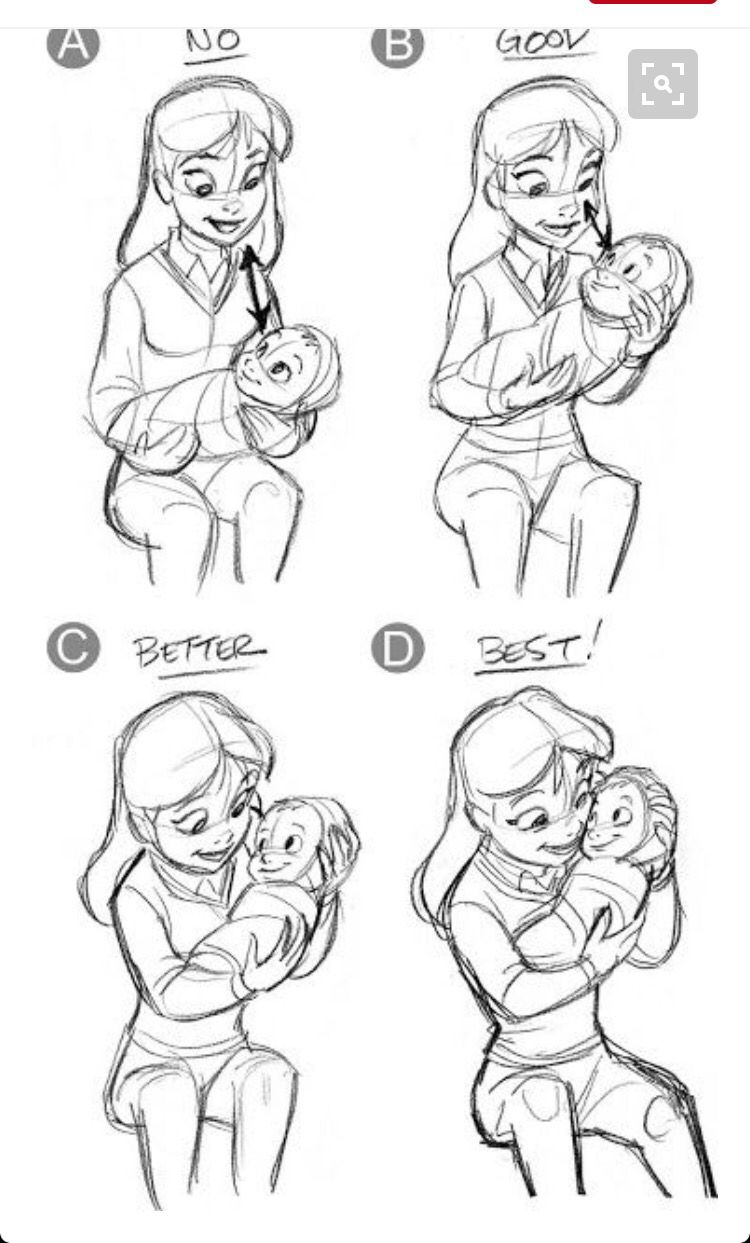 Mom Holding A Baby Drawing Character Design Pose Sketches