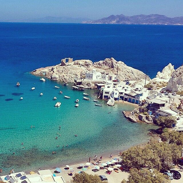 Beautiful shades of blue sea in Milos island (Μήλος). Wonderful white & blue of cycladic style .