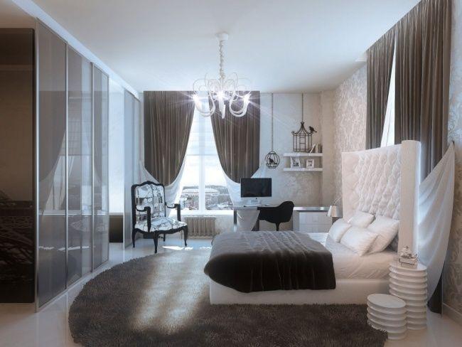 Schlafzimmer Wohnideen Weiß Grau Hochglanz Kleiderschrank Schiebetüren  Kronleuchter
