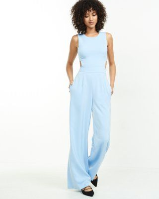 15ffab59561 light blue open back jumpsuit from EXPRESS
