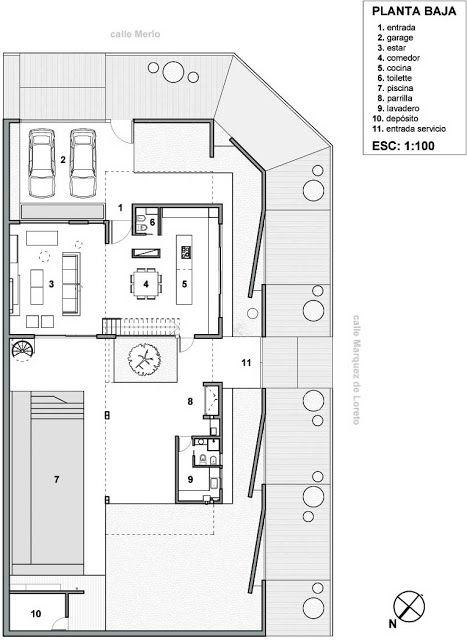 plano de vivienda unifamiliar en esquina de 220 m2 en un
