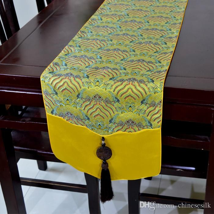 Promotions Jade Jacquard Patchwork Table Runner Table Linen High End  Natural GENUINE SILK Brocade End Table