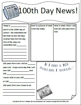 100th Day of School Newspaper, School and Students - newspaper templates for kids