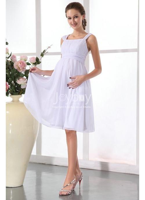 Knee Length White Maternity Dresses For Wedding Guest | Maternity ...