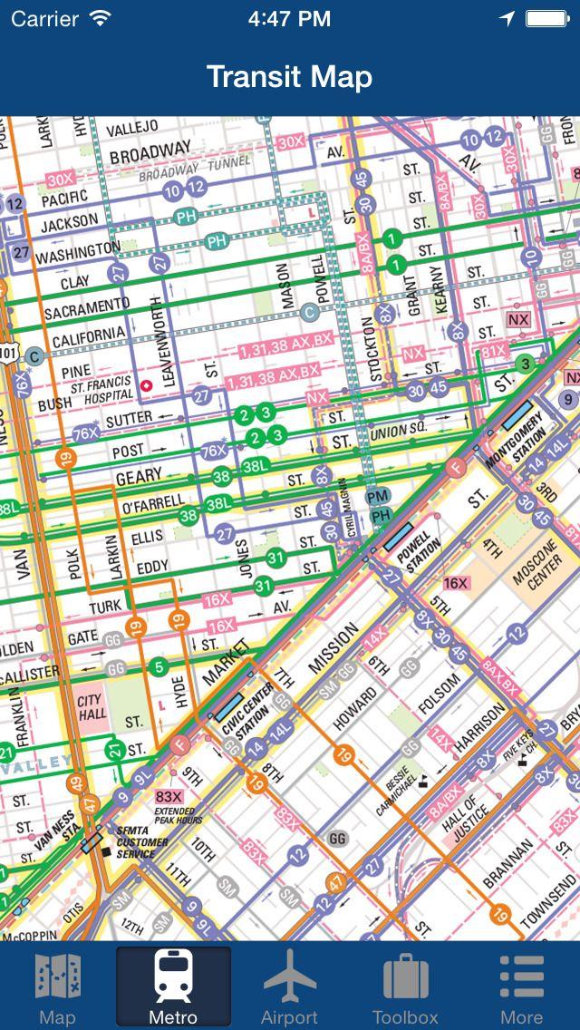 iPhone App San Francisco Offline Map City Metro Airport