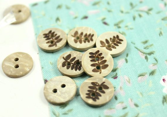 Wooden Buttons  Set 14 Fern Leaf Pattern Small Wooden by Lyanwood, $4.20
