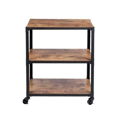 Mind Reader 30 In X 12 In X 23 In 3 Tier Metal With Wood Mobile Utility Cart In Black Wdmtcart3t Blk The Home Depot In 2020 Wood And Metal Decor Rolling Utility Cart