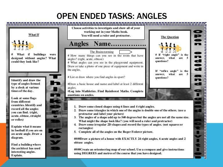 Open Ended Maths Tasks For Time And Angles Maths
