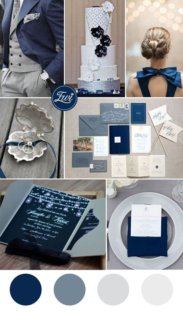 Perfect 10 pocket wedding invitations to match with your for What colors match with navy blue