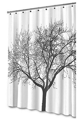 Feoya Shower Curtain 72 X 80 Dacron Fabric Black Mocha Tree
