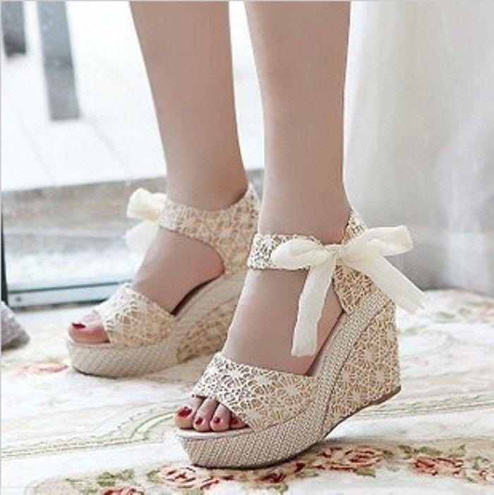 Wedding Shoes, Bridal Wedges Ivory