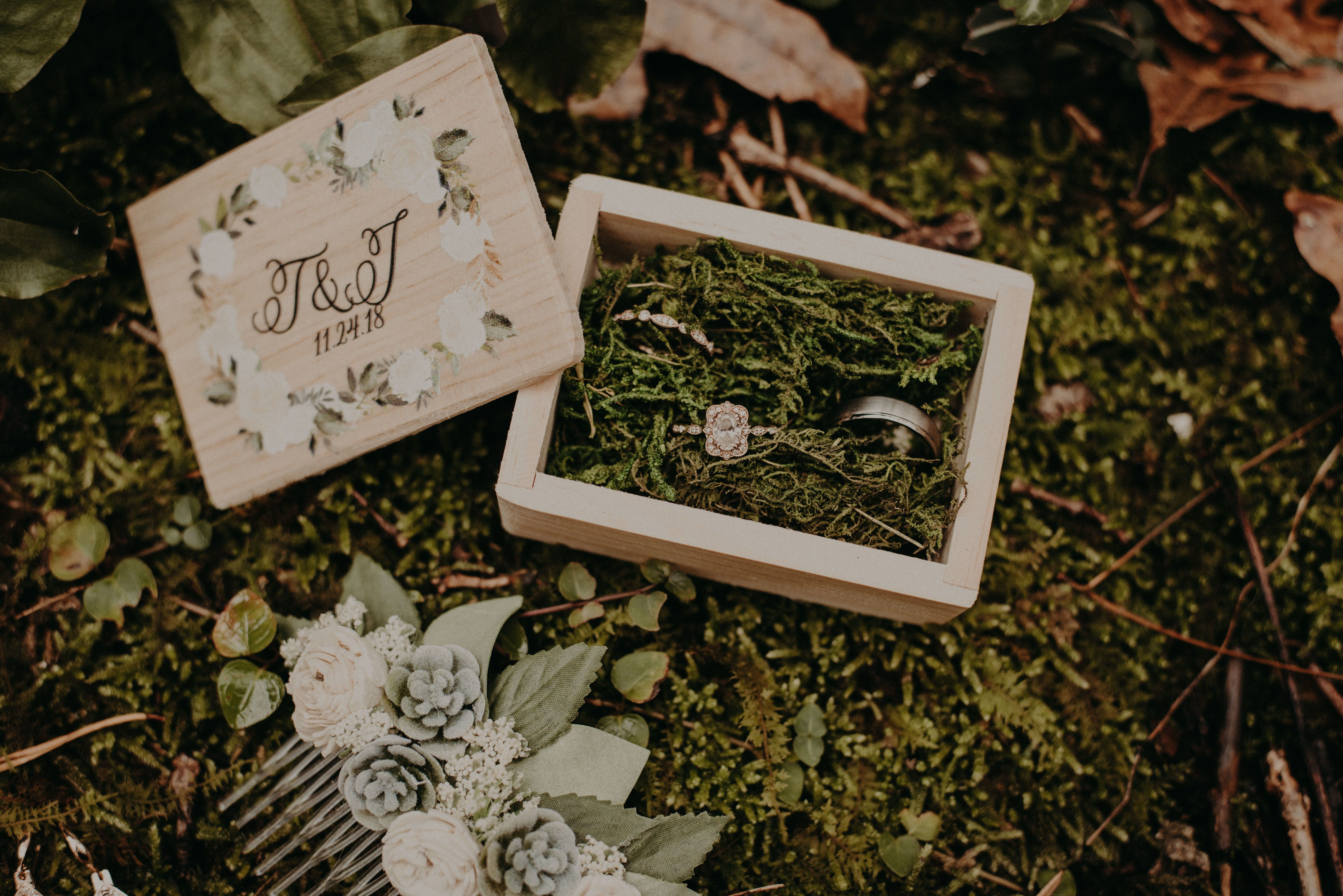 Wedding Ring Box Personalized Names Wooden Box For Wedding Gift