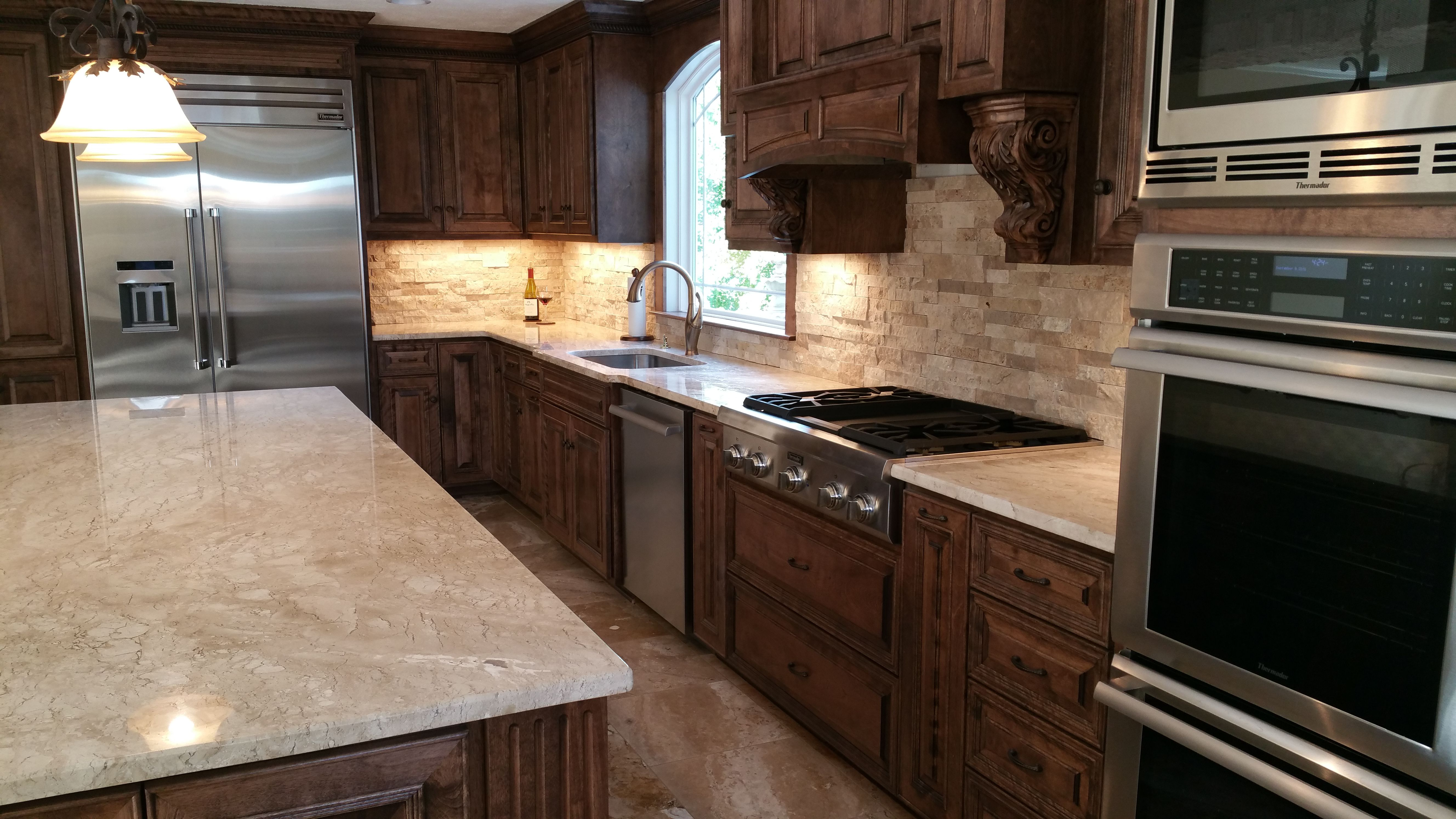 Travertine Tile The Floor Throughout Main Level Countertops Stacked