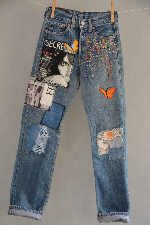 Levi's 501 Vintage High Waist Denim Jeans Medium Blue Wash Authentic Gift Womens Slim Fit Straight Leg 24 25 26 27 28 29 30 31 32 33 34 Mom #vintage