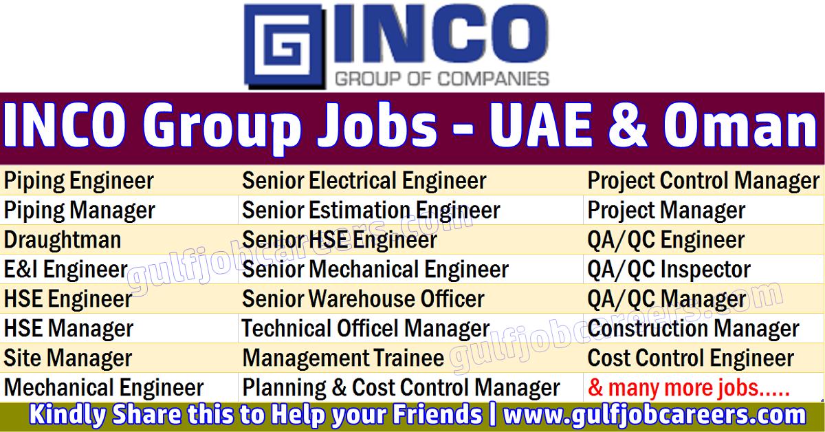 INCO Group Job Vacancies - UAE | Job Search Oil & Gas Bomdevagas
