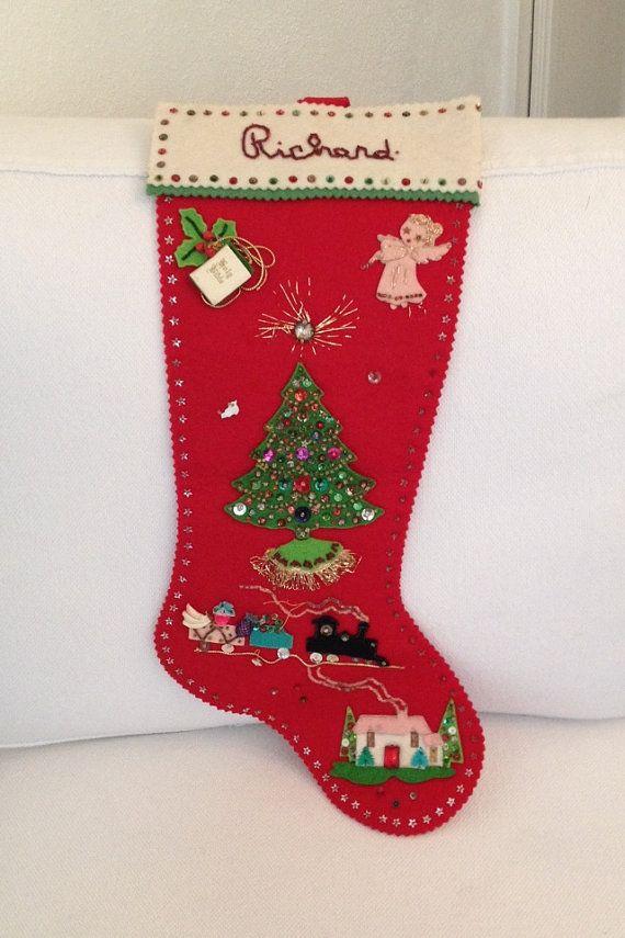 Vintage 1965 felt stocking christmas handmade by for Felt stocking decorations