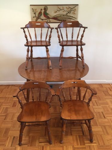 Ethan Allen Heirloom Maple Nutmeg Dining Set Captain Chair 10 6101