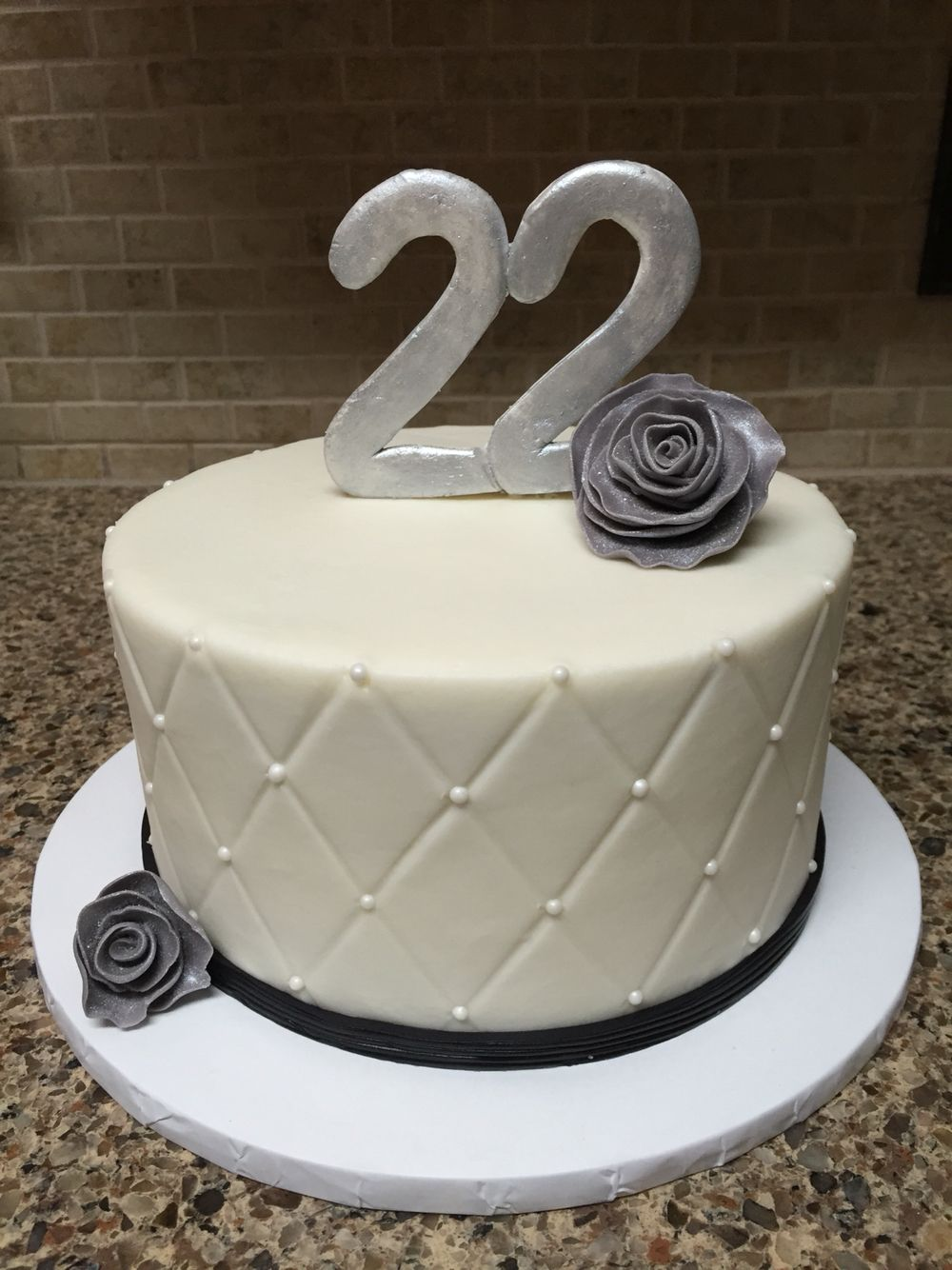 Marvelous Black And White 22Nd Birthday Cake 7 Inch Chocolate Fudge Cake Personalised Birthday Cards Sponlily Jamesorg