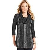 NY Collection Cable-Knit Cowl-Neck Tunic Sweater
