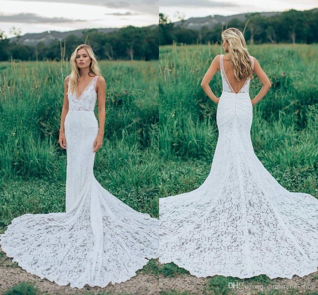 Vintage Modest 2018 Mermaid Wedding Dresses Full Lace Sweep Train V ...