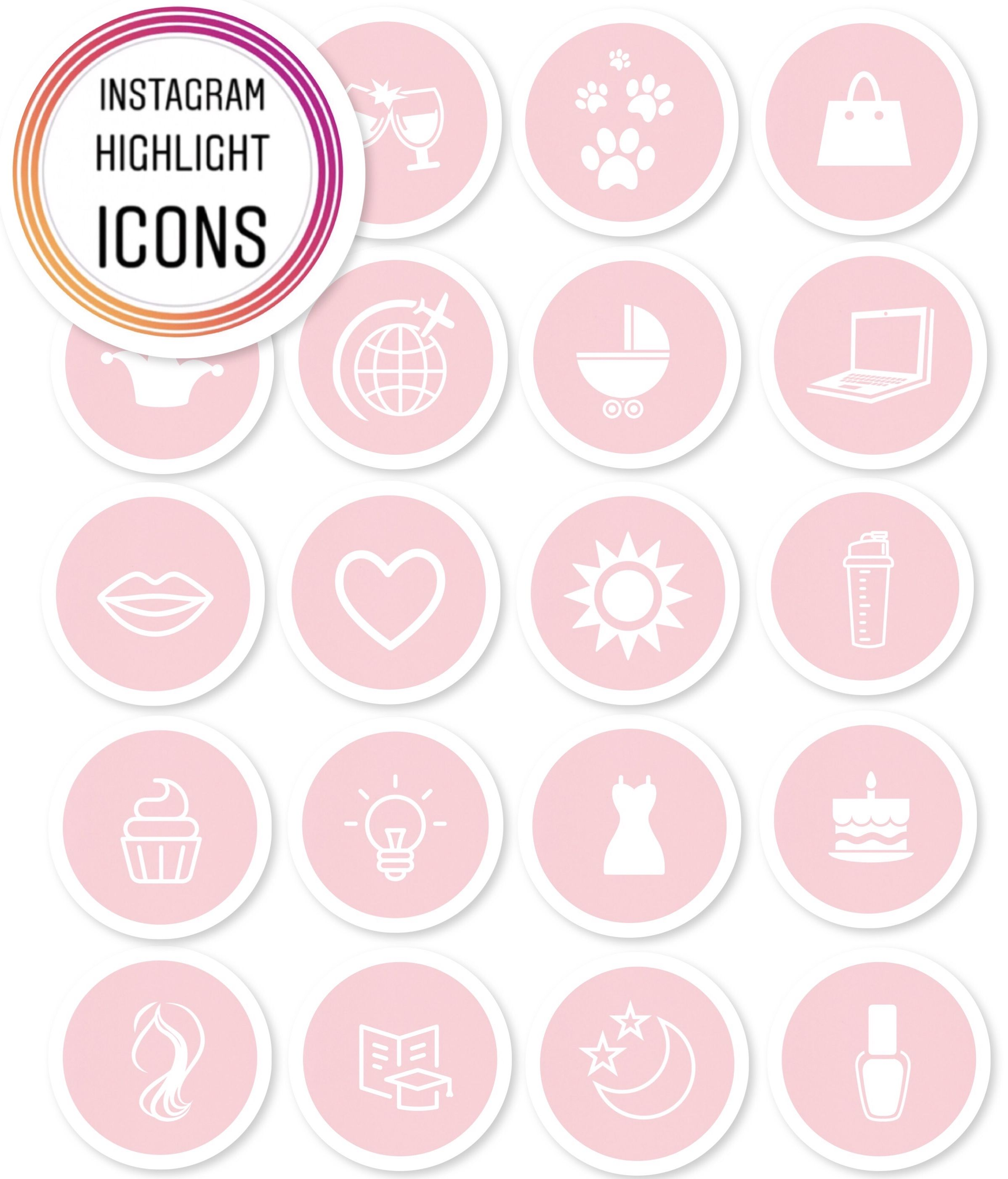 Instagram Story Highlight Icon Images Set of 19