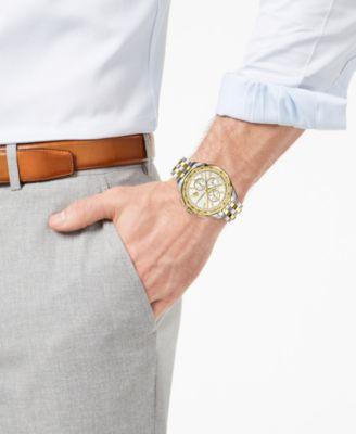 2fce97eb0 Versace Men's Swiss Glaze Two-Tone Stainless Steel Bracelet Watch 44mm -  Silver