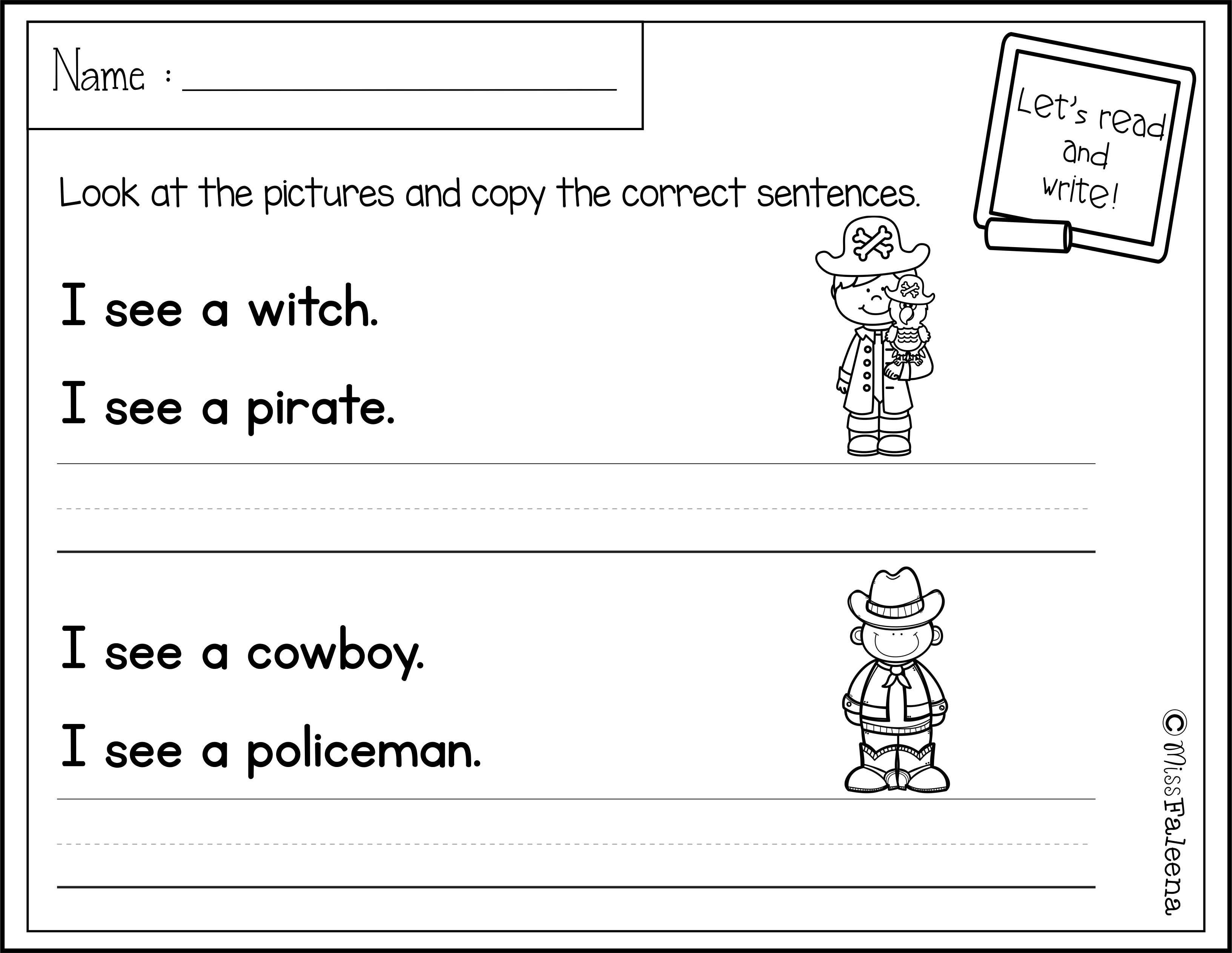 October Sentence Writing