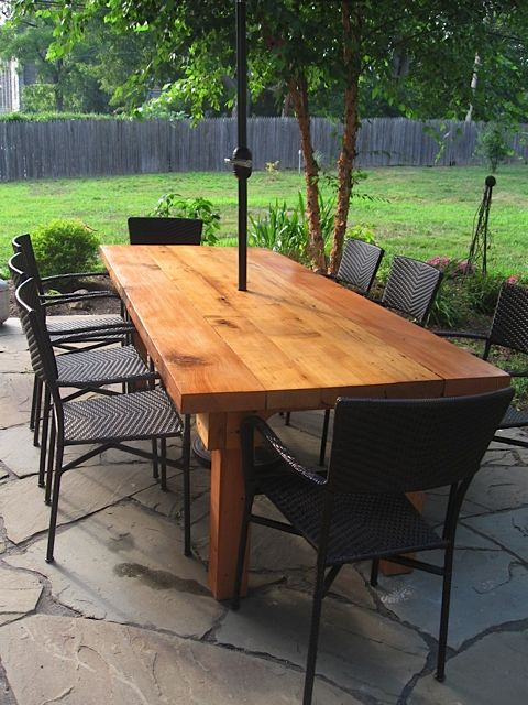 Outdoor Wooden Patio Table With Umbrella 215 843 0313 Outdoor Wood Table Patio Plans Outdoor Dining Spaces