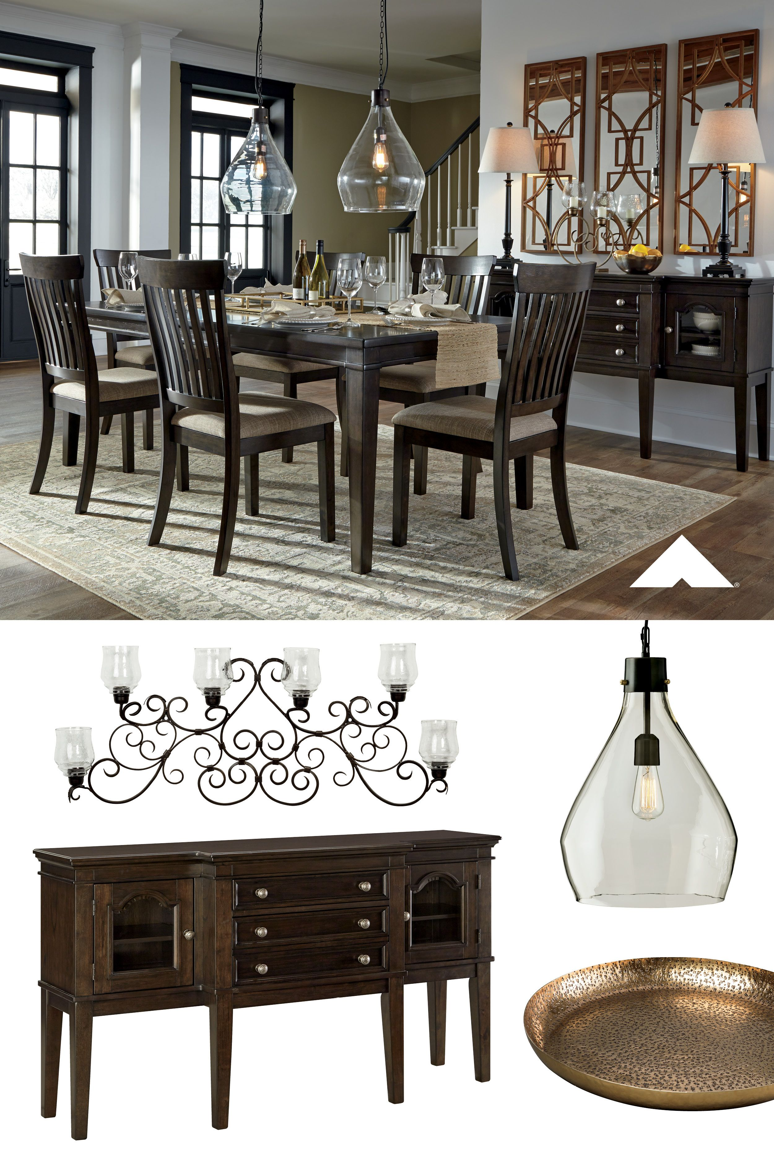 Alexee Dark Brown Dining Room Furniture By Ashley Furniture